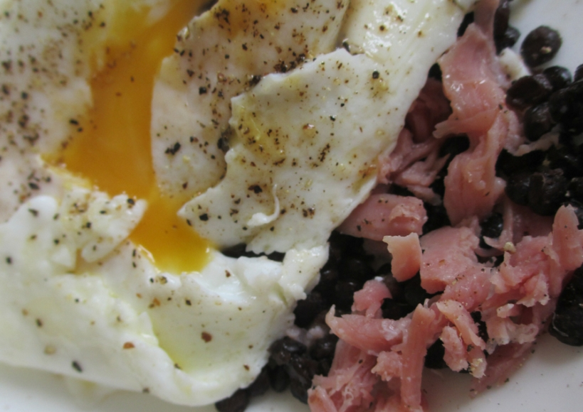 Ham, egg and lentil lunch
