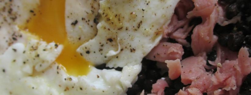 Ham, egg and lentil lunch